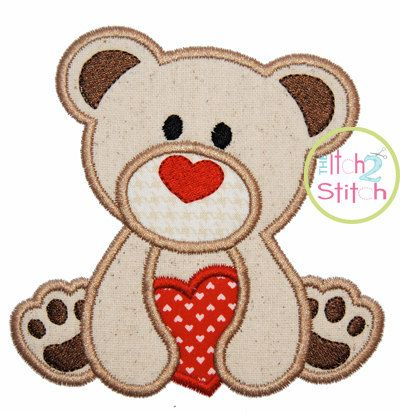 """Valentine Heart Bear Applique Design For Machine Embroidery (""""Cinnamon Cake"""" Font is NOT included) INSTANT DOWNLOAD now available on Etsy, $4.00"""