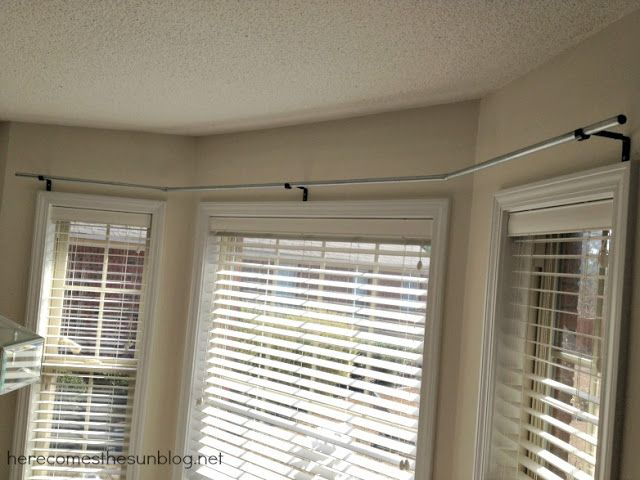 DIY Bay Window Curtain Rod - to allow curtains to be fully opened.                                                                                                                                                                                 More