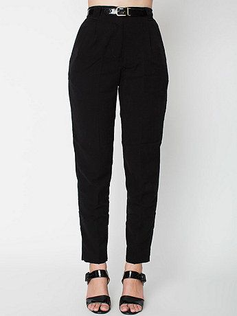 American Apparel - Micro-Poly High-Waist Pleated Pant