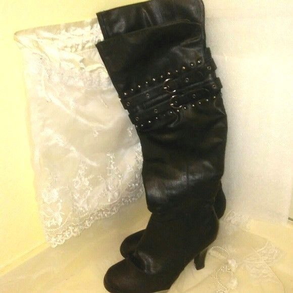 9f0630097f CA By Carini Womens Black Leather Knee Boots Size 7