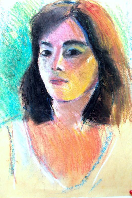 self portrait pastels