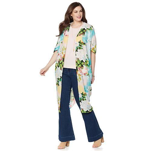 Melissa McCarthy Seven7 Woven Kimono Topper - La Vie En Rose