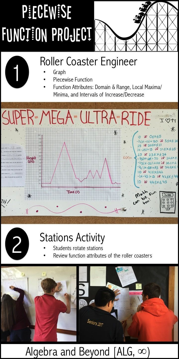 Students will create a roller coaster that demonstrates their knowledge and understanding of the following skills: •Graph a continuous function that represents a roller coaster using parent functions.  •Write a piecewise-defined function to represent the entire roller coaster. •Attributes of functions: Domain/Range, Min/Max, and Intervals of Inc/Dec