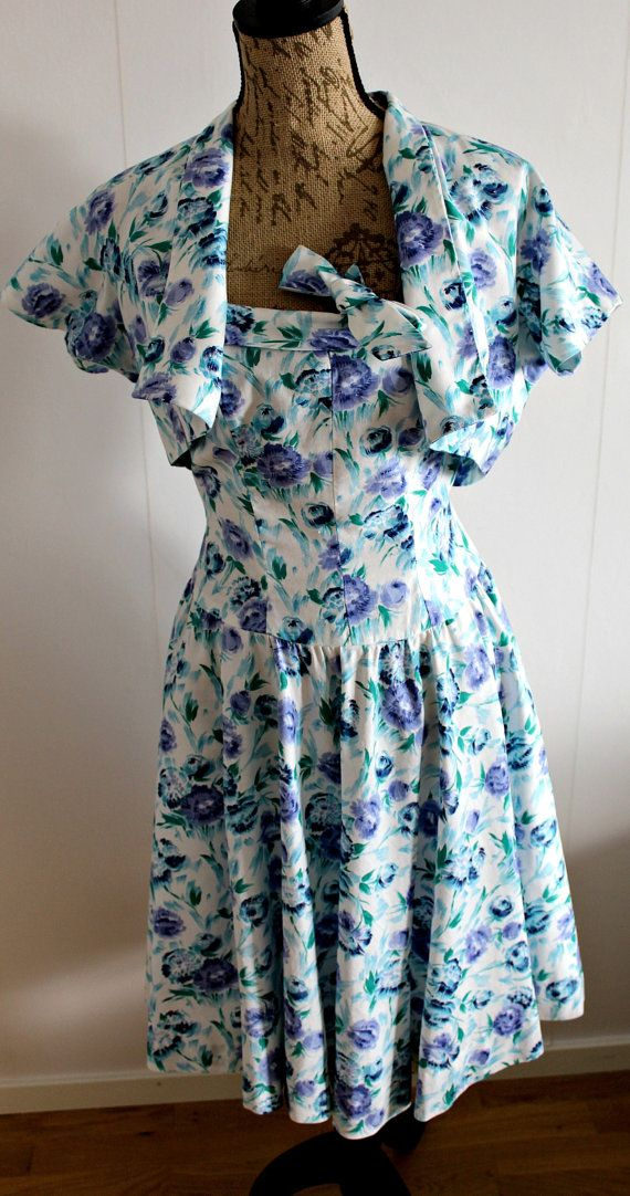 Vintage 1950s floral dress women Cotton Full by Lovelievintage