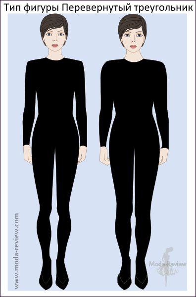 Перевернутый треугольник: основной признак - хорошо развитый плечевой пояс; бедра уже плеч. В зависимости от комплекции рекомендации немного отличаются.