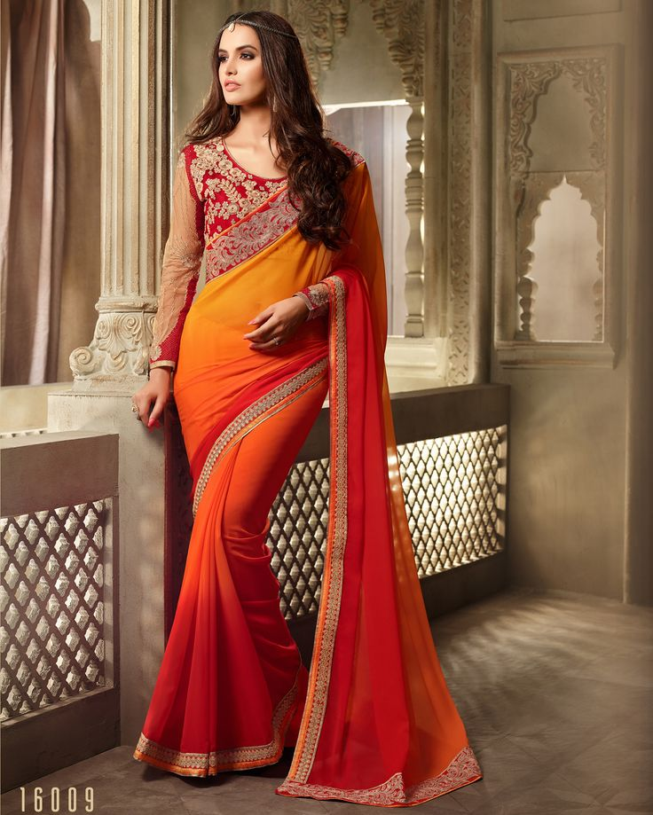 #Lalgulal #Orange-#Red Georgette Embroidery #DesignerBlouse #Partywear #BridemateSaree. Buy Now :- http://www.lalgulal.com/sarees/orange-red-georgette-embroidery-designer-blouse-partywear-bridemate-saree-684 To Order Visit our #Website or You can Call or #Whatsapp us on +91-95121-50402.  #COD & #FreeShipping Available only in India.