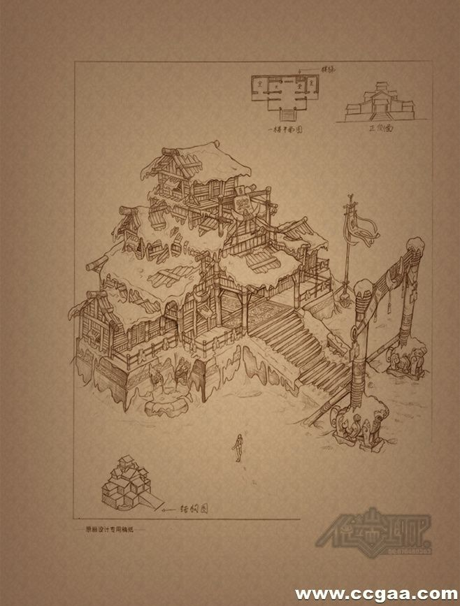 40张道具,雕塑,场景建筑设定线稿(有包...