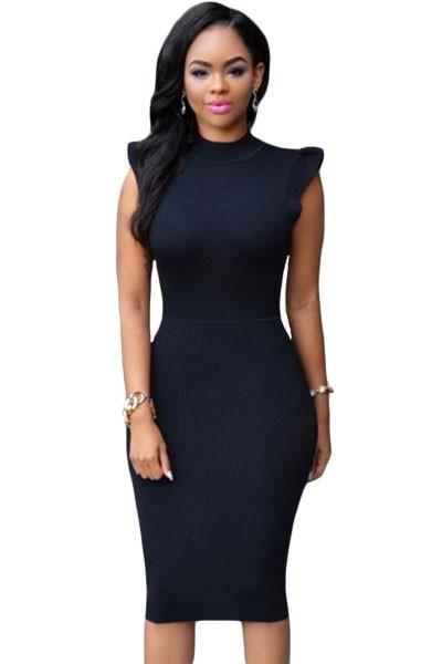 Black Ruffle Sleeves Body-conscious Midi Dress modeshe.com