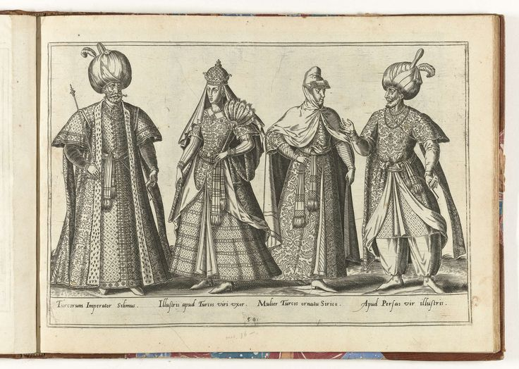 Abraham de Bruyn | Twee Turkse mannen en twee vrouwen, gekleed volgens de mode van ca. 1580, Abraham de Bruyn, in or before 1581 | Prent uit het boek 'Omnium pene Europae, Asiae, Aphricae atque Americae gentium habitus...', 1581.