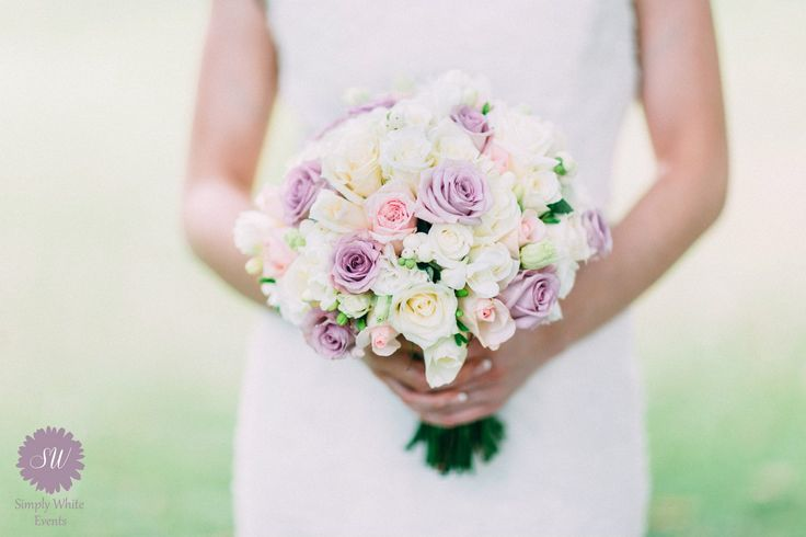 Pink cream and lilac bouquet- Roses, freesia, lisianthus and snowberry. For Simply White Events photoshoot.