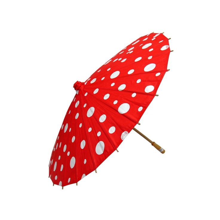"32"" Red Polka Dot Paper Parasol"