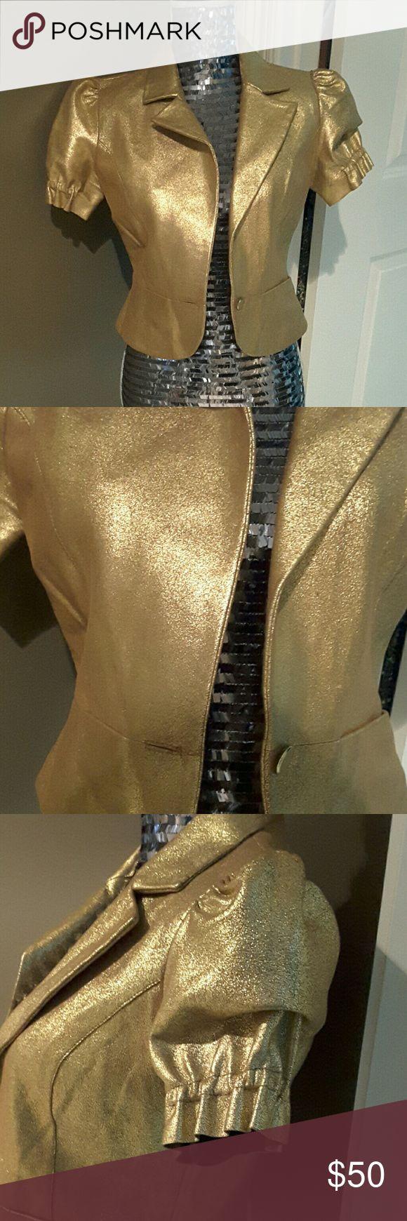 Golden Lambskin Leather Blazer 100% lambskin leather jacket blazer with short sleeves and 2 stylish pockets Heart Moon Stars Jackets & Coats Blazers