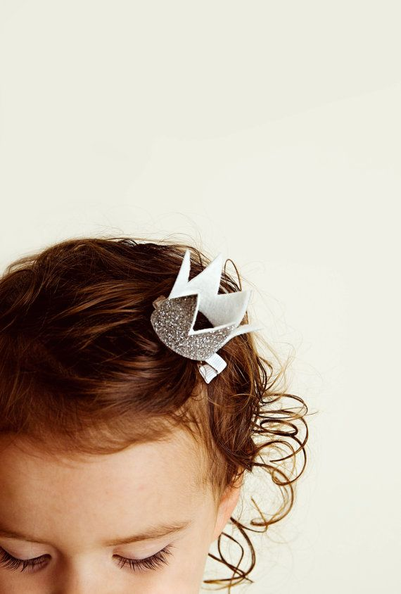Crown Hair Clip  || Gold & Silver Glitter || BEST SELLER by deargraceandparker  Birthday Crown, Felt Crown, Glitter Crown, Handmade, Birthday Hat, Favors, Princess Party, Mini Crown, Prince Crown, Party Hat, Cake Smash
