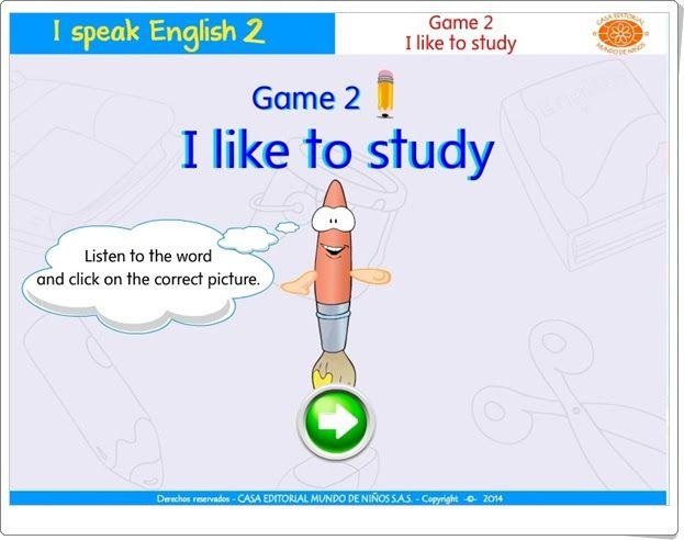 """I speak English 2: """"I like to study"""""""