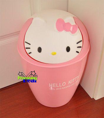 "Hello Kitty Trash Can Waste Garbage Bin 12"" Height Pink"