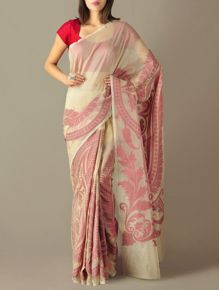 Beige-Red Paisley Glass Cotton Saree