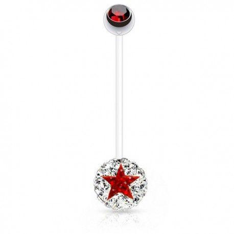 Piercing Nombril Grossesse Flexible boule de Cristaux blancs et étoile rouge https://piercing-pure.fr/p/647-piercing-nombril-grossesse-flexible-boule-de-cristaux-blancs-et-etoile-rouge.html #star #piercing #piercinggrossesse #piercingnombril #grossesse #etoile