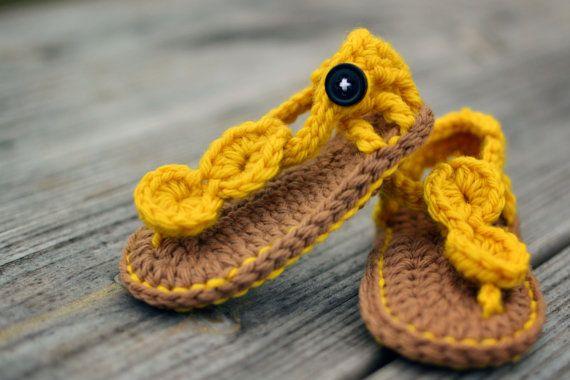 crochet baby sandals in yellow