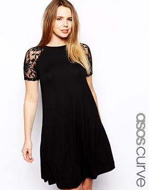 ASOS CURVE Swing Dress With Lace Raglan Sleeve