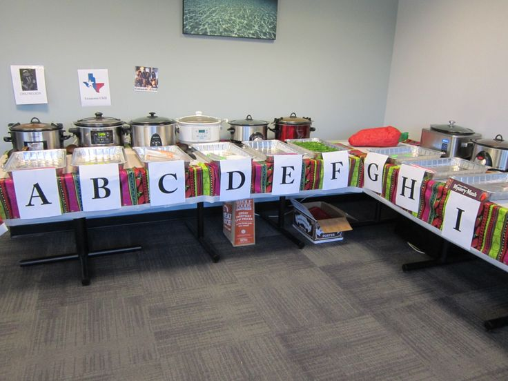 I hosted a chili cook-off at the office. A blind contest, each chili represented by a letter and fun name on the ballot. Each competitor got a silver tray, which they filled with 40 2-oz cups/samples.