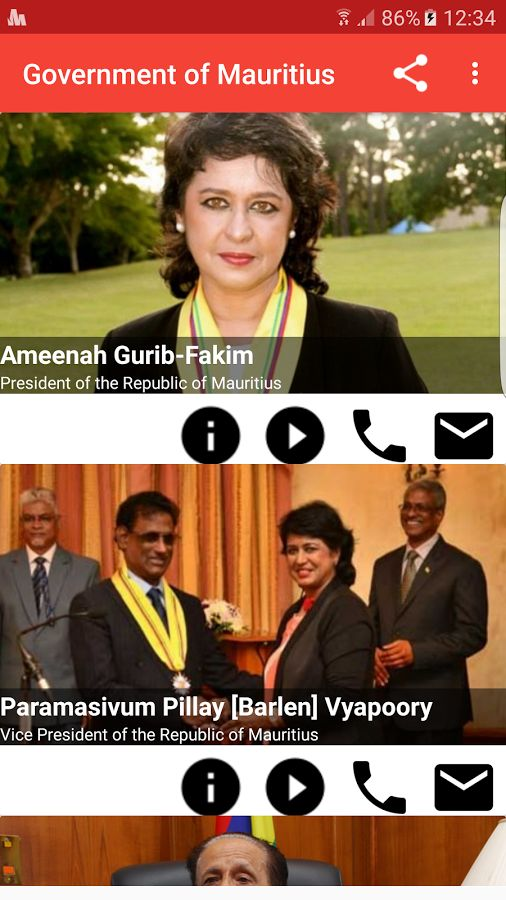 Government of Mauritius has been completely redesigned.  Four icons have been added under the ministers' picture to read their bio, to hear how to pronounce their names, call their offices and email them.  Some ministries are currently vacant. Tap the play icon to listen to the National Anthem.  Thank you for downloading and rating the app in the store.