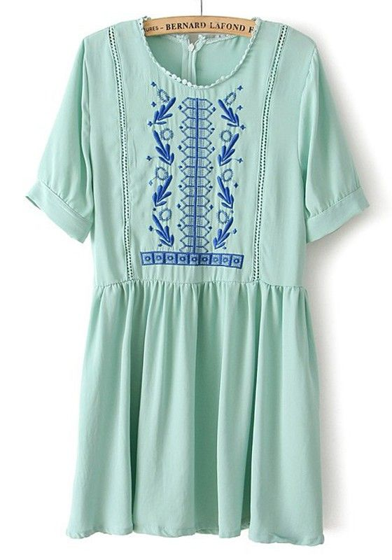 Green Embroidery Zipper Hollow-out Short Sleeve Chiffon Dress. It would be really cute with a brown belt