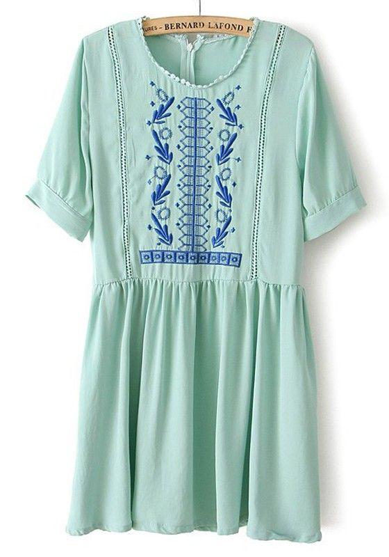 Green Embroidery Zipper Hollow-out Short Sleeve Chiffon Dress