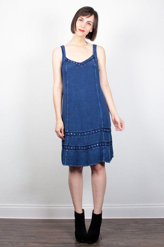 Vintage 90s Dress Midi Dress 1990s Dress Soft Grunge Dress Hippie Dress Bohemian Blue Mirrored Indian Dress Sundress Boho Mini Dress L Large by ShopTwitchVintage #vintage #etsy #90s #1990s #dress #sundress #hippie #grunge #boho #bohemian