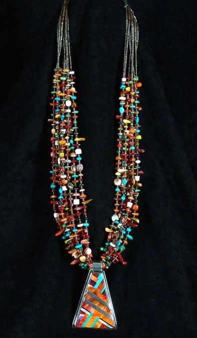 Turquoise multi stone necklace with inlaid pendant