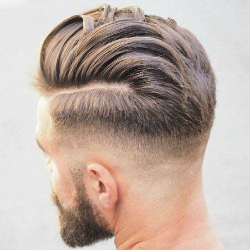 Pretty Boy Hair - Mid Fade with Hard Part and Textured Slicked Back Hair