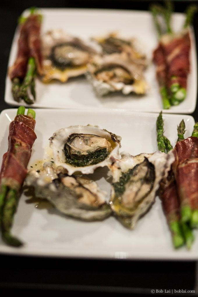 Grilled Asparagus wrapped in Prosciutto & Grilled Oysters with Tarragon butter