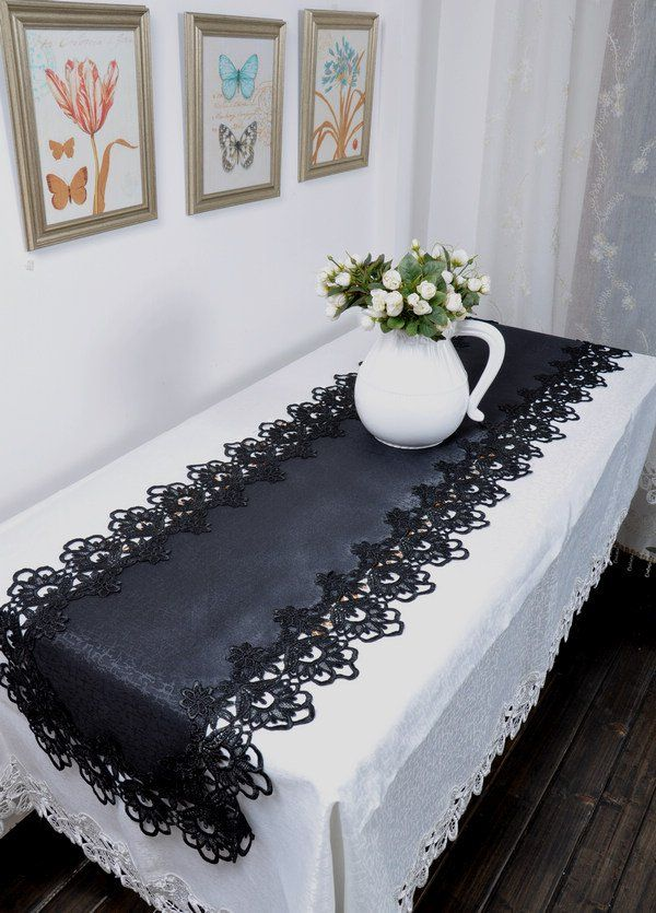 Gothic Black lace  table cloth/runner/placemats, 15*43 inch(40*110cm),  FREE SHIPPING-in Table Cloth from Home  Garden on Aliexpress.com $12.90