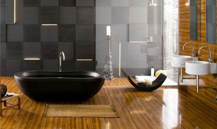 siyah ahşap detaylı banyo dekorasyonu 2016