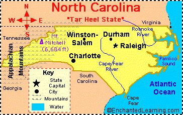 Printable Map of NC Cities | North Carolina: Facts, Map and State Symbols - EnchantedLearning.com