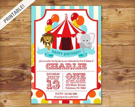 First Birthday Carnival Invite - Circus Invitation - Carnival Invitation - Custom Made - Printable on Etsy, R$36,81