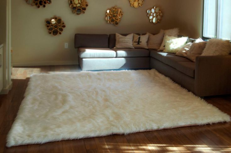 White Fluffy Area Rug