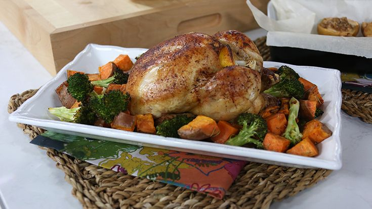 Simple roast chicken with roasted sweet potatoes and broccoli