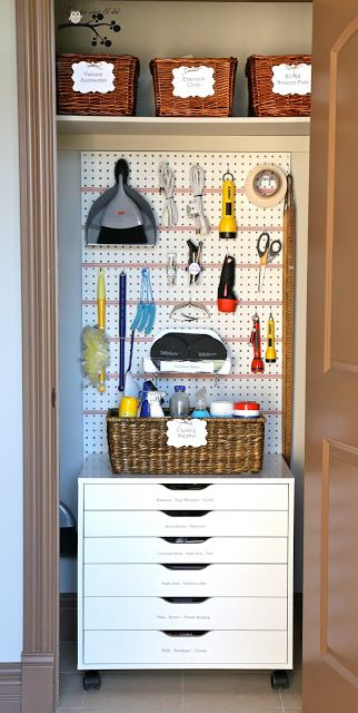 Pegboard Organization in a closet for things like cleaning supplies and flashlights