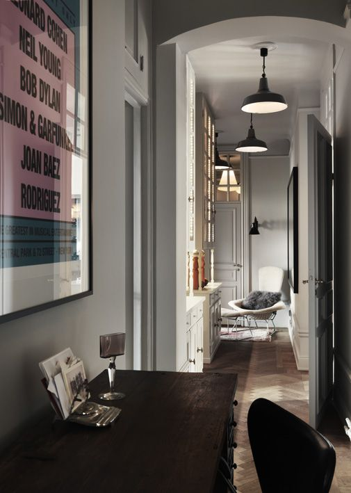 Vintage interior | Dusty Deco for Fabrique | styled by Edin Memic Kjellvertz #hallway #lightgrey #art #woodenfloor #retro #coolapartment