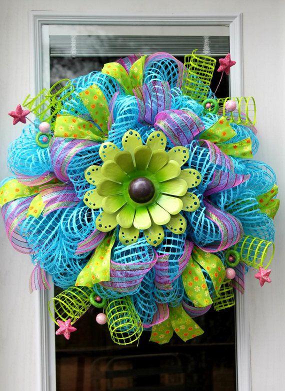Metal Flower Spring Mesh Wreath/Turquoise by WreathsandThingsLK