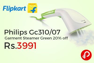 Flipkart is offering 20% off on Philips Gc310/07 (8890 310 07280) Garment Steamer Green at Rs.3991. Quick and easy to use, this garment steamer from Philips can be ideal for all your last minute touch-ups and difficult-to-iron clothes,   http://www.paisebachaoindia.com/philips-gc31007-garment-steamer-green-20-off-at-rs-3991-flipkart/