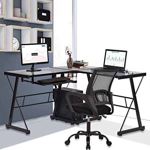 Glass Computer L Shaped Desk With Keyboard Tray And Cpu Stand Home Office Corner Gaming Desk Pc Laptop Des In 2020 Desk With Keyboard Tray Corner Gaming Desk Pc Desk