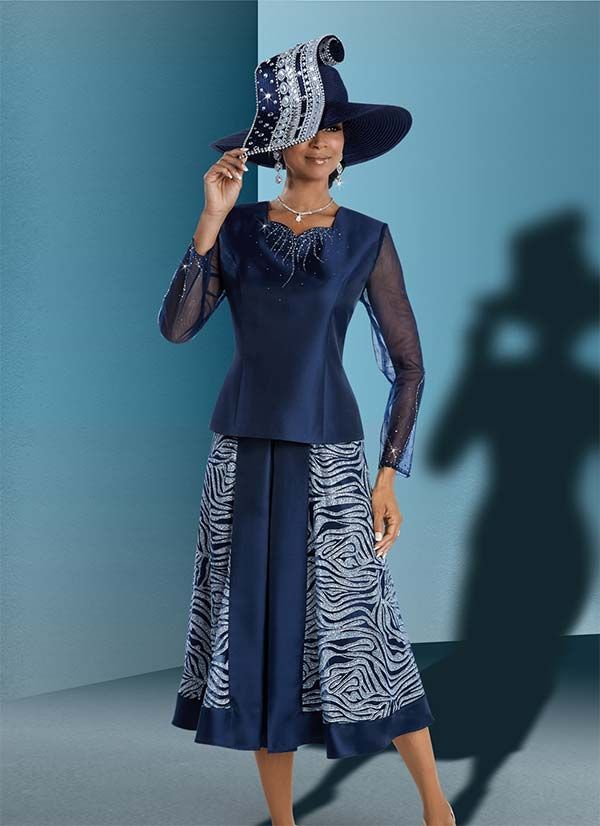 Donna Vinci 11606 Jacket & Skirt Set For Church With Mesh Sleeves & Sequined Fabric