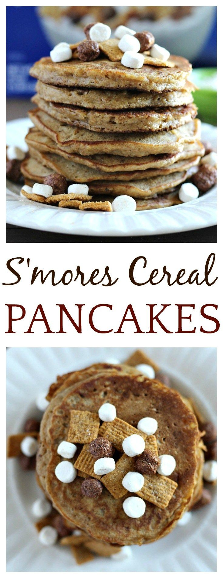 Have a little more fun in the morning with this easy breakfast recipe for delicious S'mores Cereal Pancakes! Kids and adults with love them! | pancakes recipe, brunch recipe, s'mores recipe