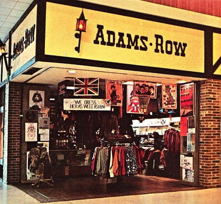 Adams Row, a young adult Brit-wear store concept of Richman Brothers, itself a division of F.W. Woolworth Co., photo circa 1970.