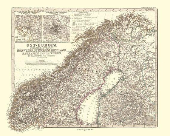 Scandinavia  Antique Map Reproduction / Old Map Print of Scandinavia