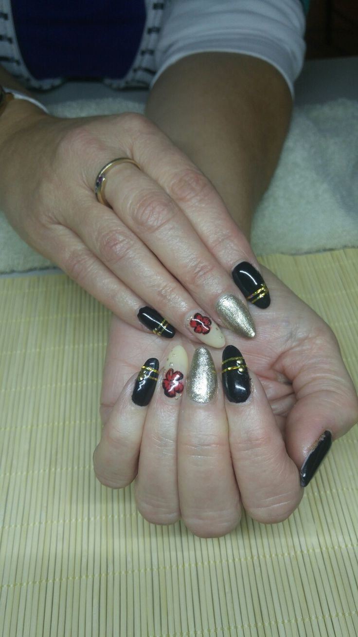My first set of classic almond nails. Rememberance day.