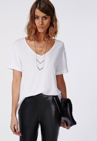 Boyfriend V Neck T Shirt White - Tops - T Shirts - Missguided