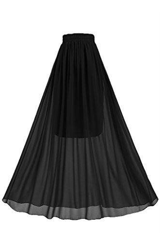 28a64f50b3f9 Topdress Women's Floor Length Beach Skirt Floral Print Chiffon Maxi Skirts