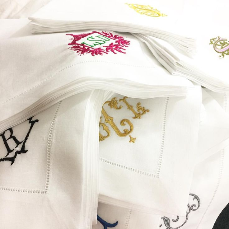 Exceptional U201cStacks Of Gorgeous Monogrammed Table Linens  The Original Signature  Collection! #monogram #